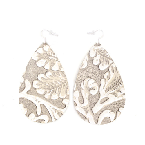 Tooled Grey Drop Leather Earrings
