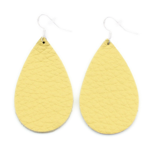 Yellow Drop Leather Earrings
