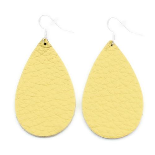 Yellow Drop Leather Earrings