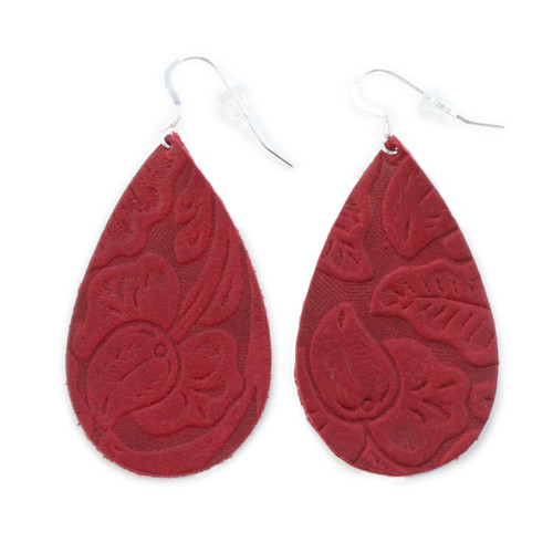 Tooled Red Drop Leather Earrings