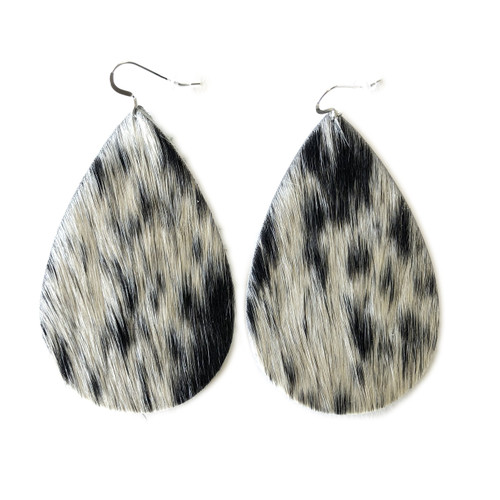 Drop Leather Earrings - Black & White Tan Hide
