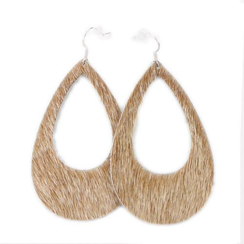 Eclipse Leather Earrings - Tan Hide