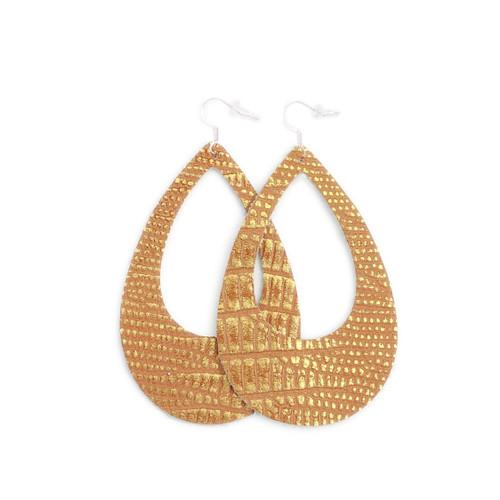Eclipse Leather Earrings - Copper Lizard Scales
