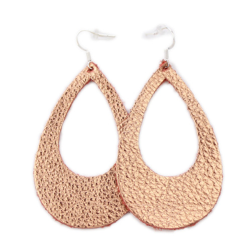 Eclipse Leather Earrings - Copper Rose Gold