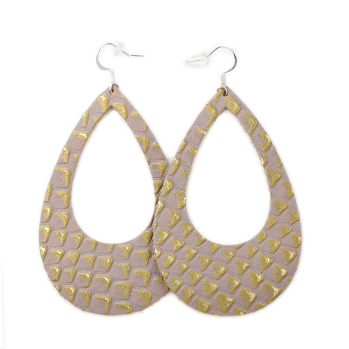 Eclipse Leather Earrings - Gold Lizard Scales