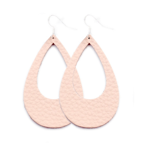 Eclipse Leather Earrings - Millennial Pink
