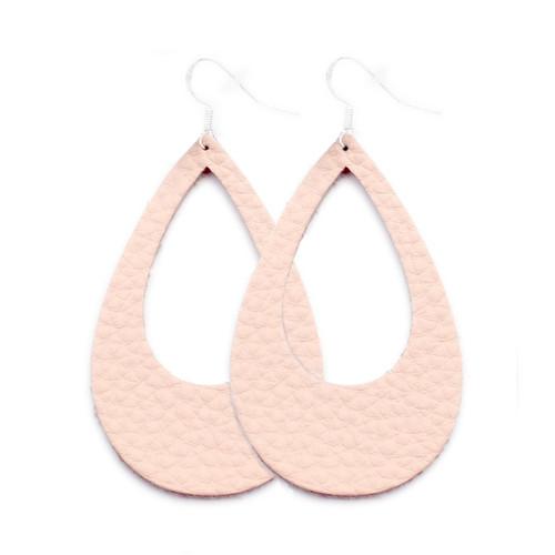 Eclipse Leather Earrings - Millennial Pink