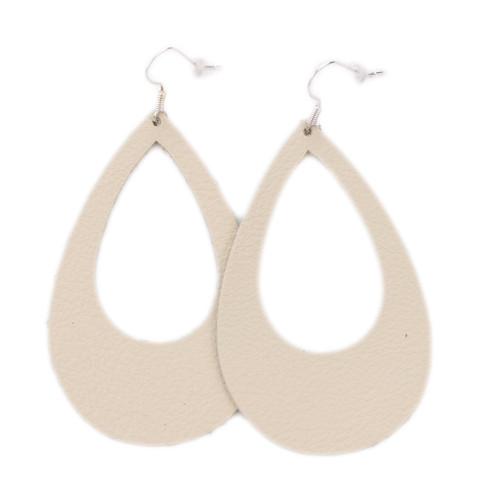 Eclipse Leather Earrings - Beige