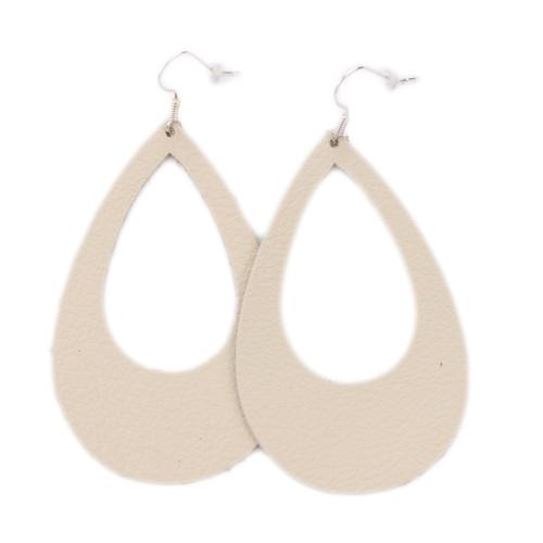 Eclipse Leather Earrings - Beige