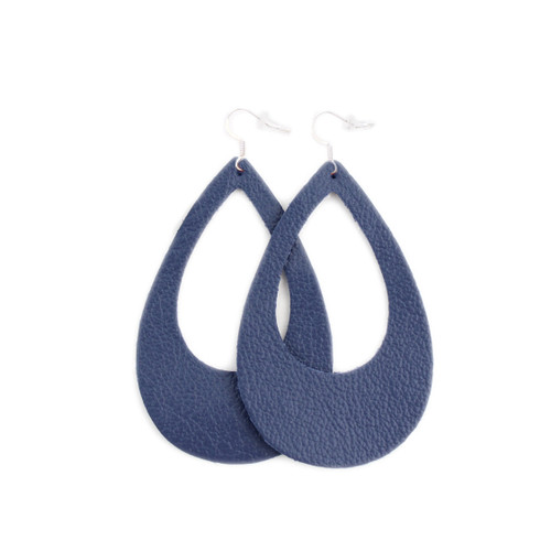 Eclipse Leather Earrings - Navy