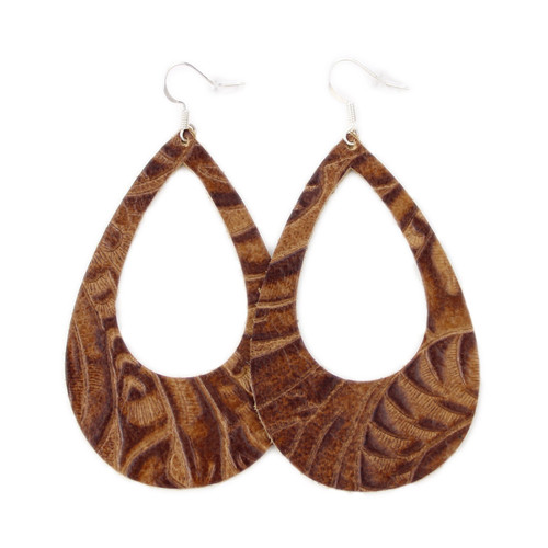 Eclipse Leather Earrings - Tooled Brown