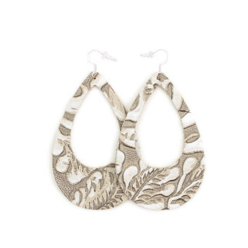 Eclipse Leather Earrings- Tooled Grey