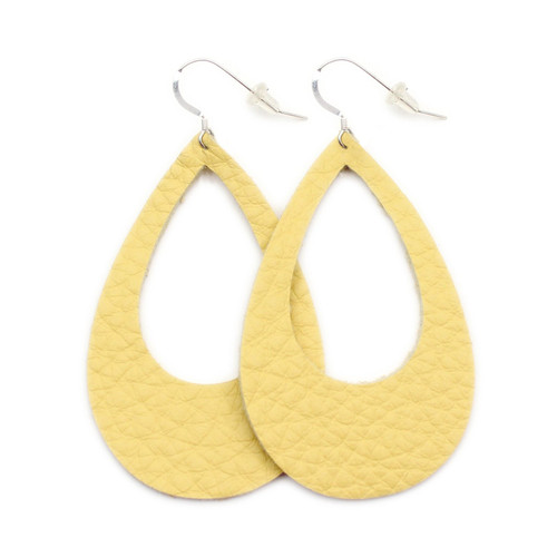 Eclipse Leather Earrings - Yellow