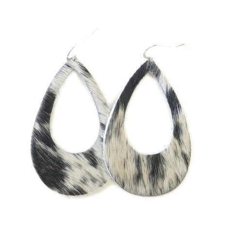Eclipse Leather Earrings - Black & White Tan Hide