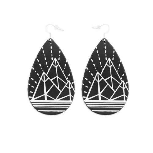 Black & White Mountain Design Gatewood Leather Earrings