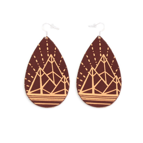 Gatewood Leather Earrings - Chestnut & Tan Mountain Design