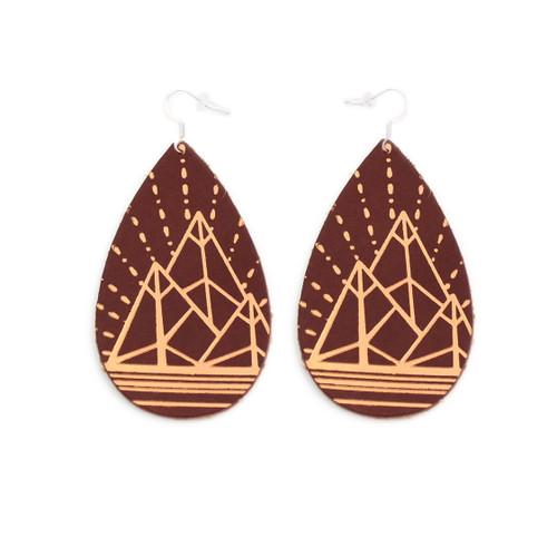 Gatewood Leather Earrings - Chestnut & Tan Mountain Design