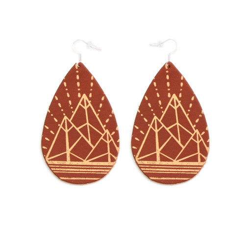 Tobacco & Tan Mountain Design Gatewood Leather Earrings
