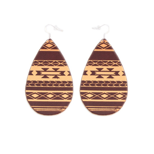 Chestnut & Tan Serape Gatewood Leather Earrings