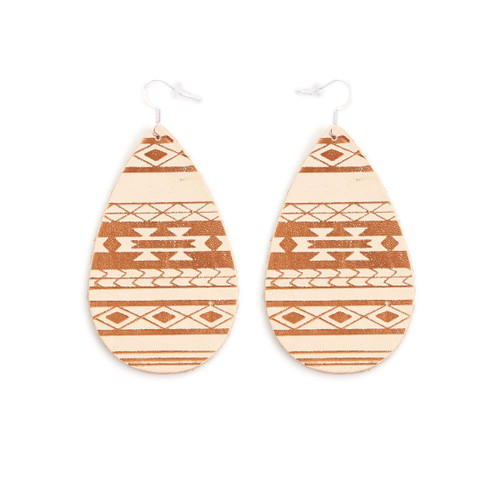 Tan Serape Gatewood Leather Earrings