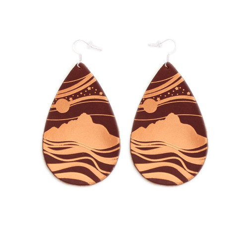 Brown Starry Peaks Design Gatewood Leather Earrings