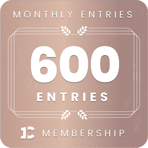600 monthly entries into every giveaway.  Unlimited 8% discount in the shop.