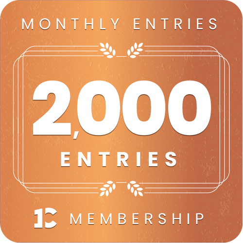 2,000 monthly entries into every giveaway.  Unlimited 10% discount in the shop.