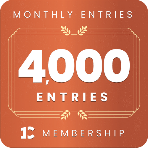 4,000 monthly entries into every giveaway.  Unlimited 13% discount in the shop.