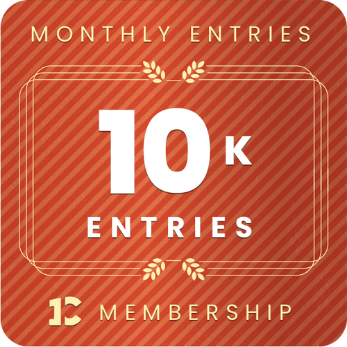 10,000 monthly entries into every giveaway.  Unlimited 15% discount in the shop.