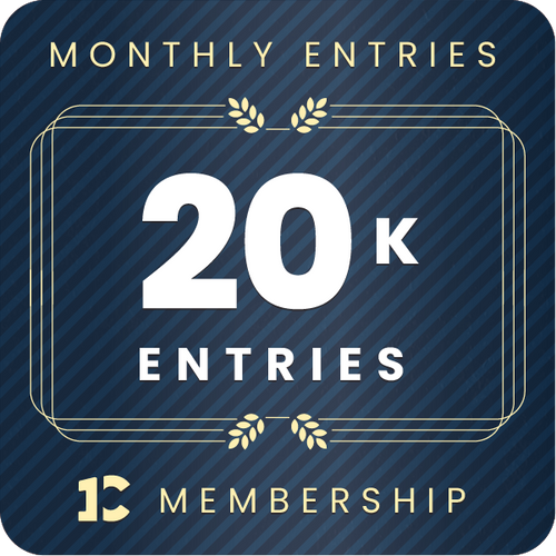 20,000 monthly entries into every giveaway.  Unlimited 20% discount in the shop.