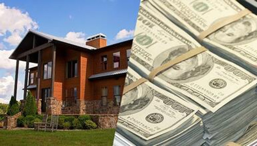 Split image of Ozark Mountain Ranch and stacks of money