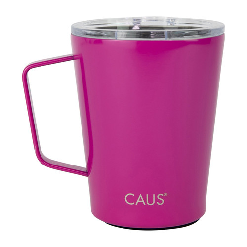 Stainless Steel Coffee Tumbler with handle - Magenta on white background