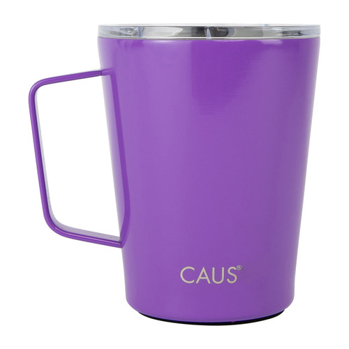 Stainless Steel Coffee Tumbler with handle - Purple on white background