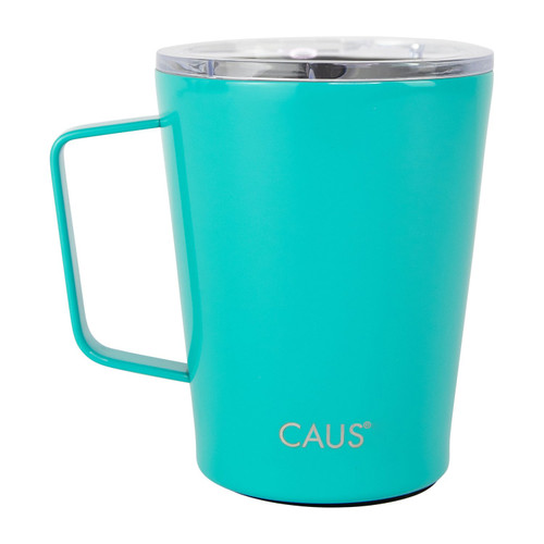 Stainless Steel Coffee Tumbler with handle - Teal on white background