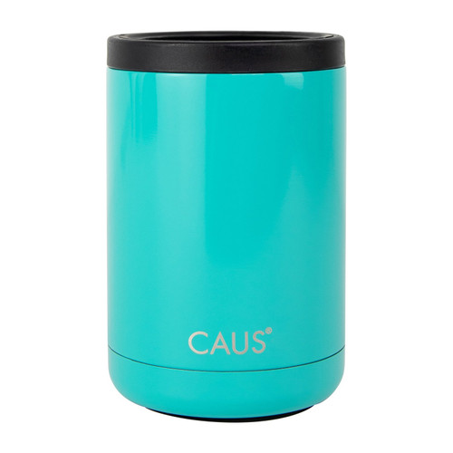 Stainless Steel Can Cooler - Teal on white background
