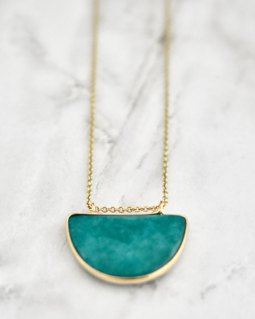 Olivia Necklace - Teal on marble background