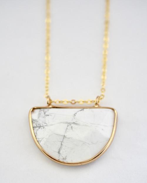 Olivia Necklace - White Marble on white background
