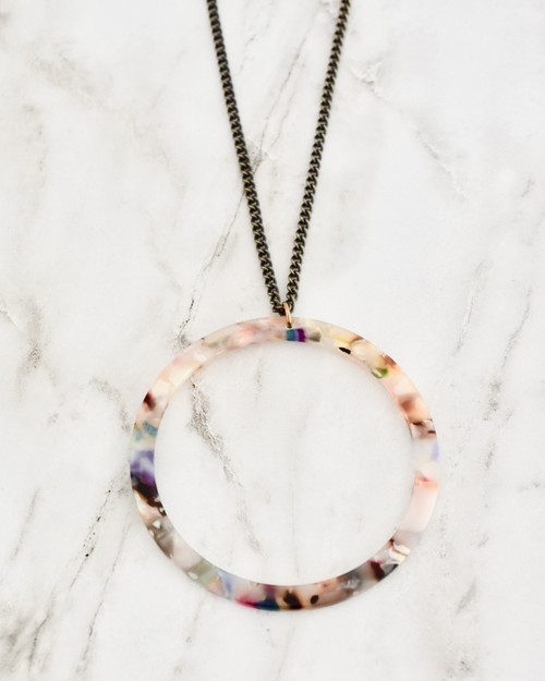 Keaton Necklace - Multi on marble background