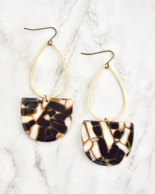 Emmy Earrings - Copper & Black on marble background
