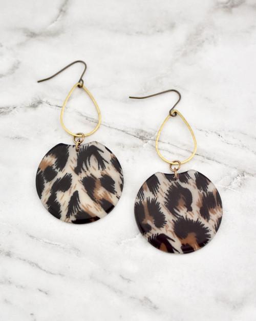 Etch Earrings - Leopard on marble background
