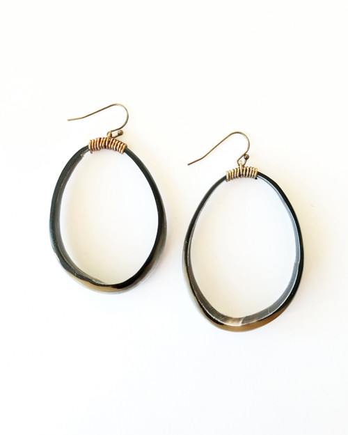 Horn Hoop Earrings on white background
