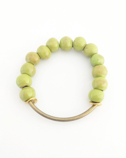 Buffy Clay Bracelet - Lime on white background