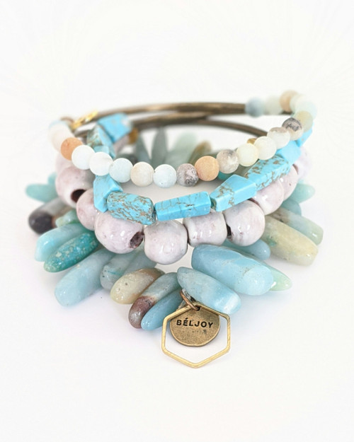Turquoise Bracelet Stack on white background