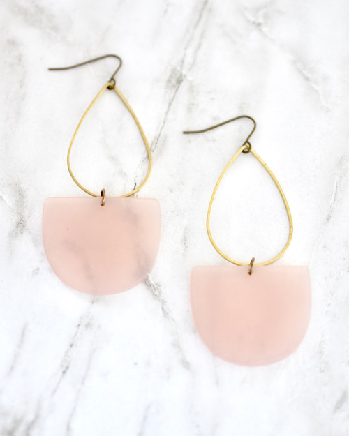 Emmy Earrings - Pink on marble background