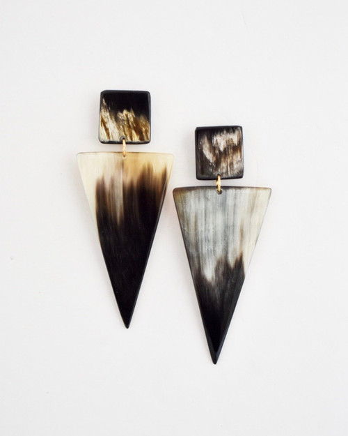 Ersela Earrings - Dark Triangle on white background