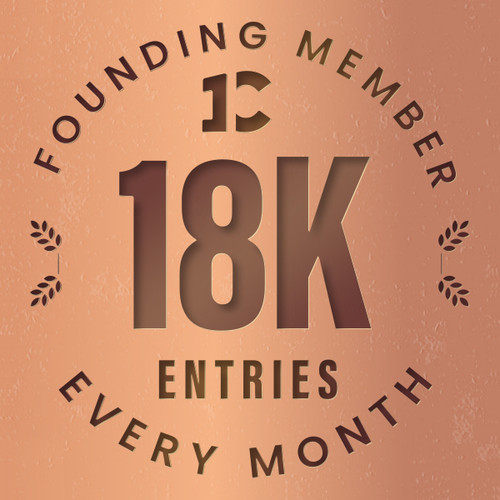 Founding member exclusive: 18000 monthly entries into every giveaway.  Unlimited 20% discount in the shop.