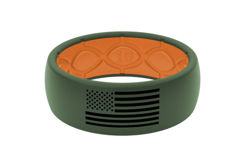 Men's Moss Green Patriotic Silicone Ring - Moss Green
