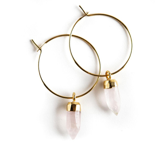 Berklee Earrings - Rose Quartz