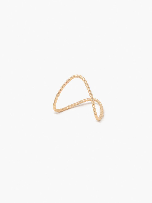 Twisted Double V Ring - Gold