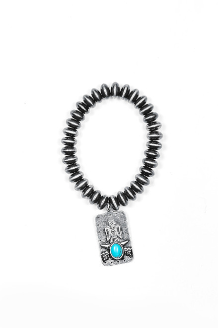 Faux Navajo Disc Pearl Stretch Bracelet with Thunderbird Charm